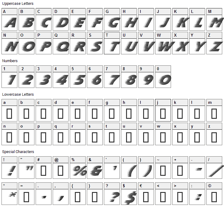 SlipStream Font Character Map