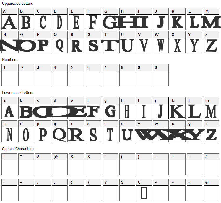 Sloopy Font Character Map