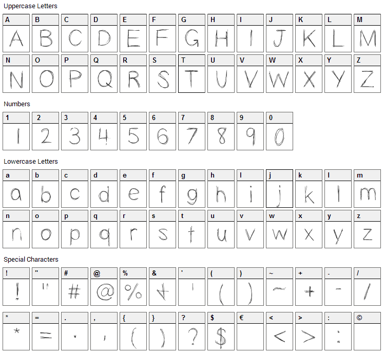 Slopness Font Character Map
