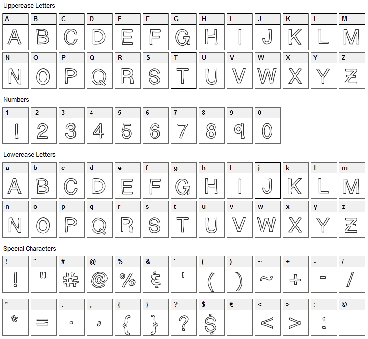 Sloppy Hollow Font Character Map