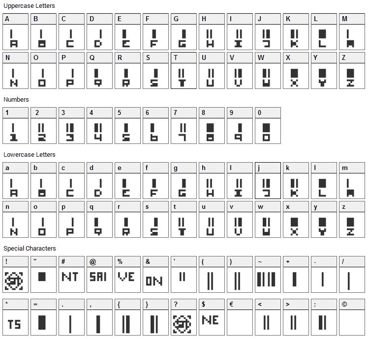 SmallBars Font Character Map