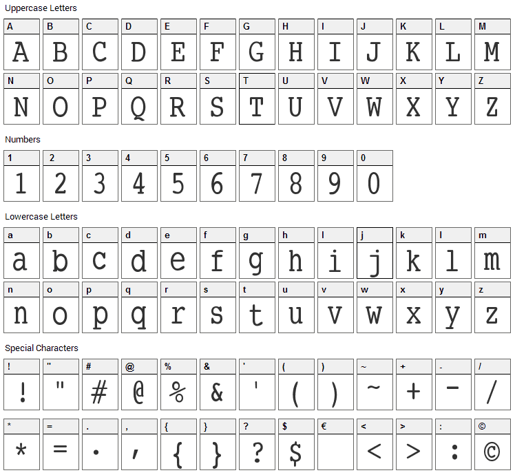 SmallType Writing Font Character Map
