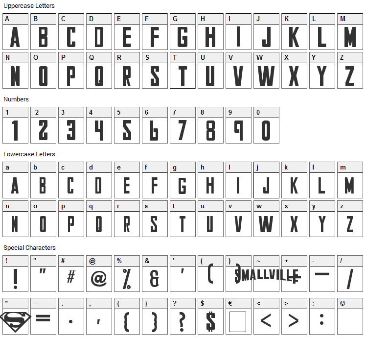 Smallville Font Character Map