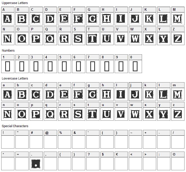 Smargana Font Character Map