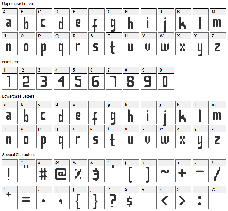 Smasasinema Font Character Map
