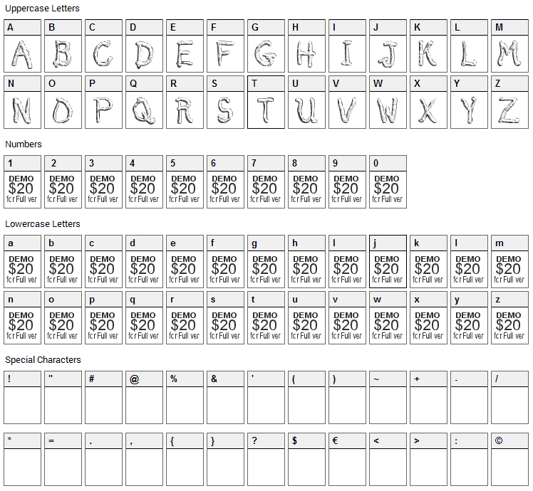 Smelted Font Character Map