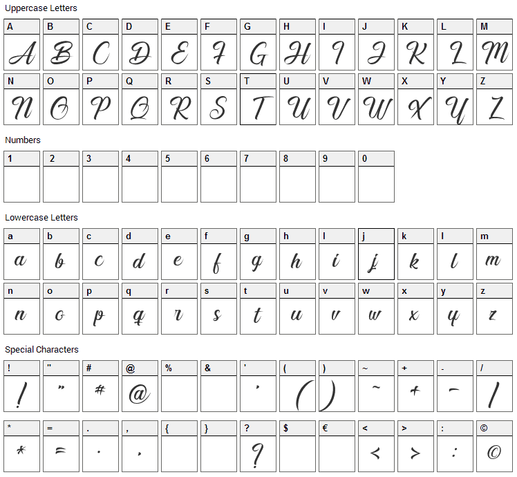 Smile of the Ocean Font Character Map