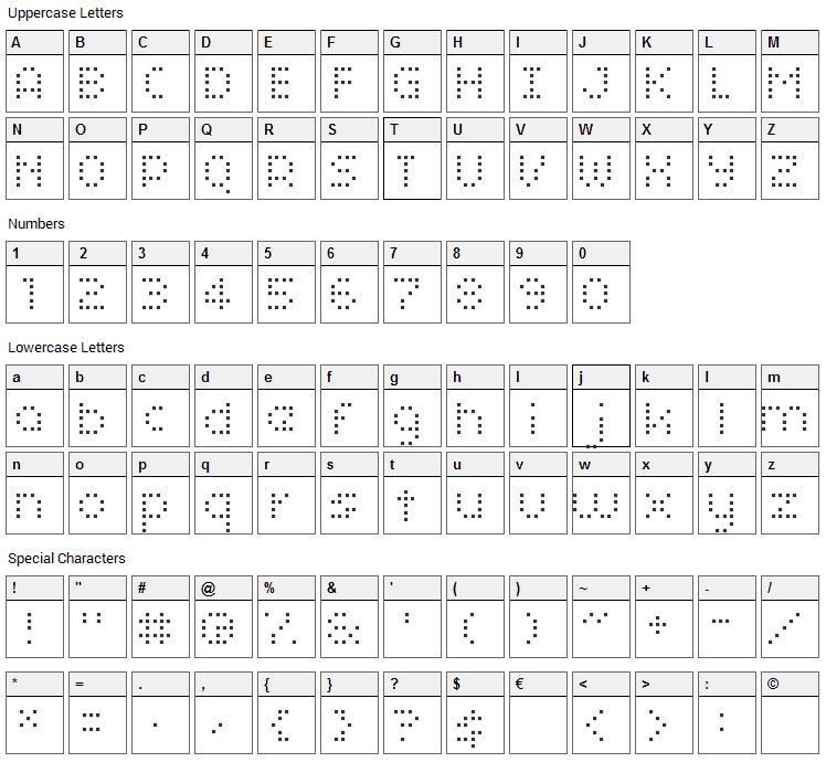 Smirnof Font Character Map