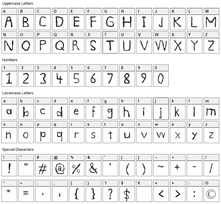 Smudge Font Character Map