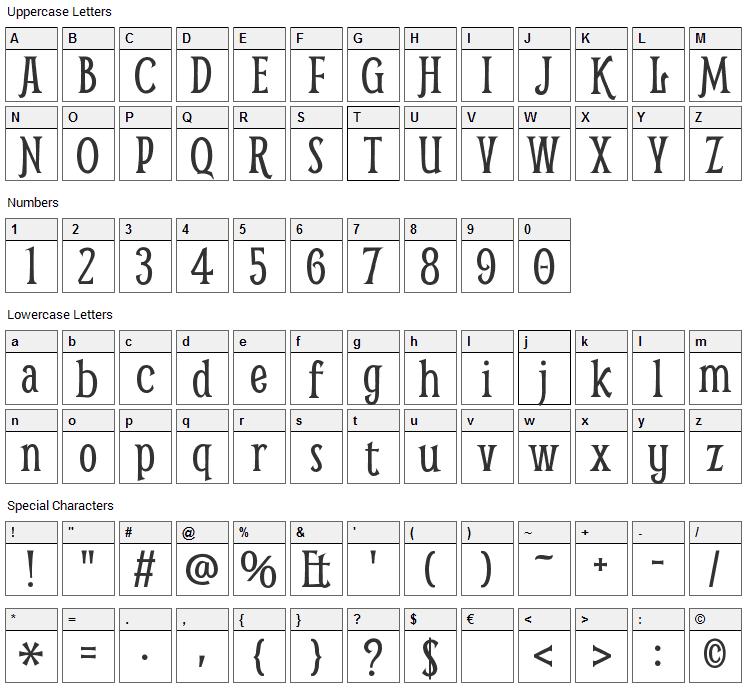 Smythe Font Character Map