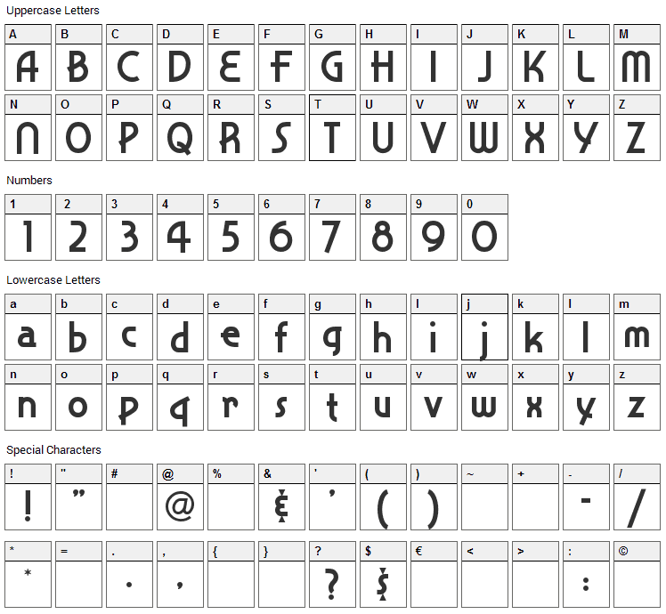 Snappy Service Font Character Map