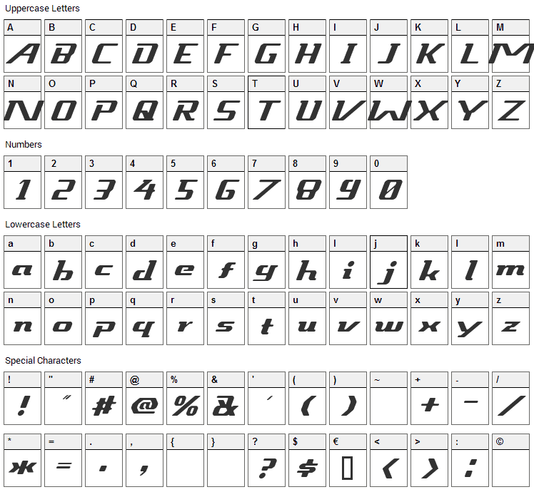 Sneakout Font Character Map