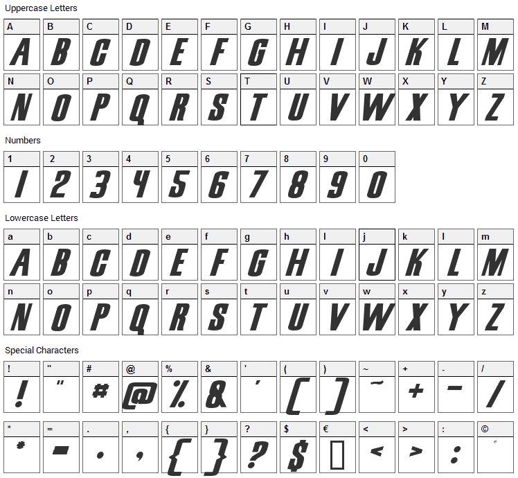 Snickers Font Character Map