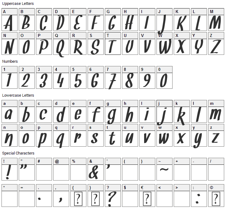 Snickles Font Character Map