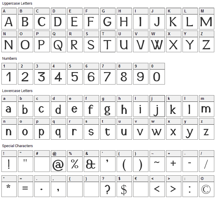 Snidane Font Character Map
