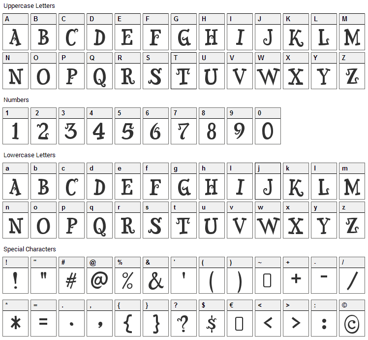 Snidely Font Character Map
