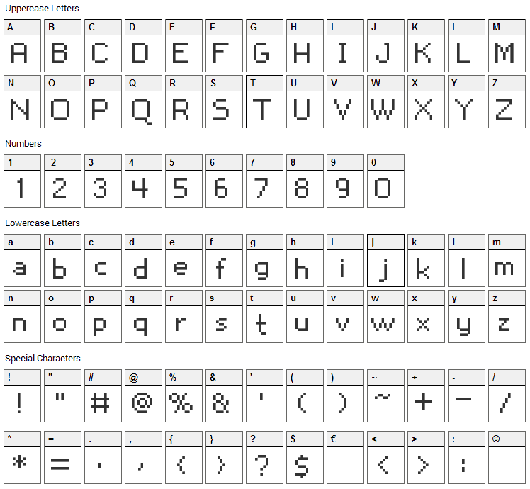 Snoot.org px10 Font Character Map