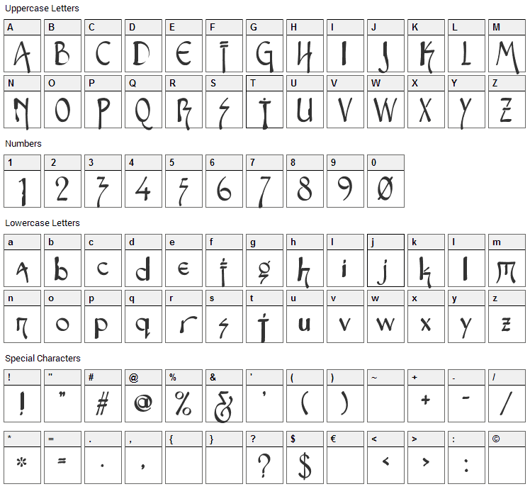 Snotmaster V Font Character Map