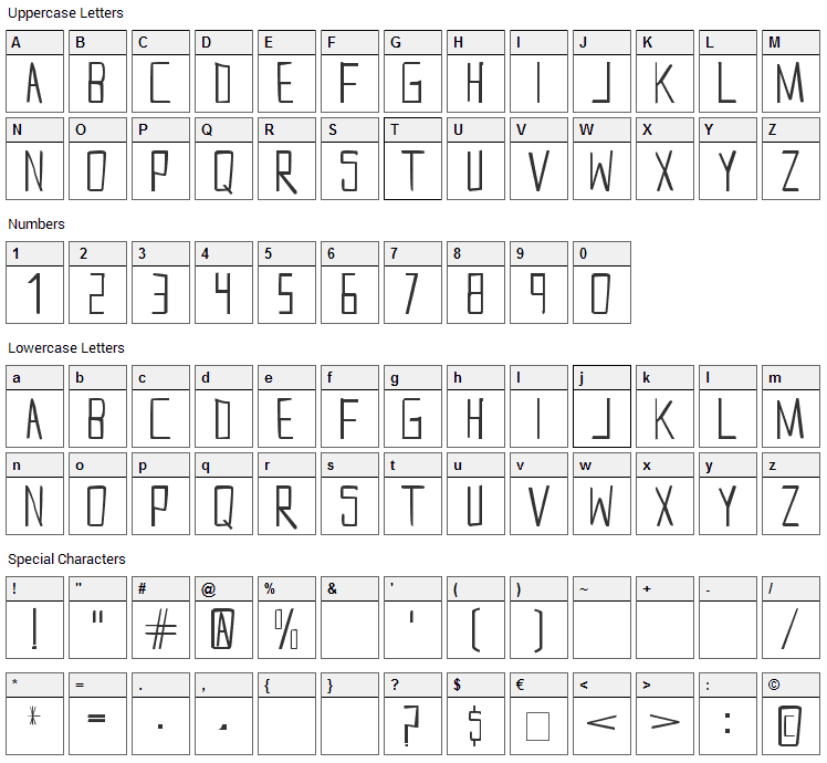 Snow Font Character Map