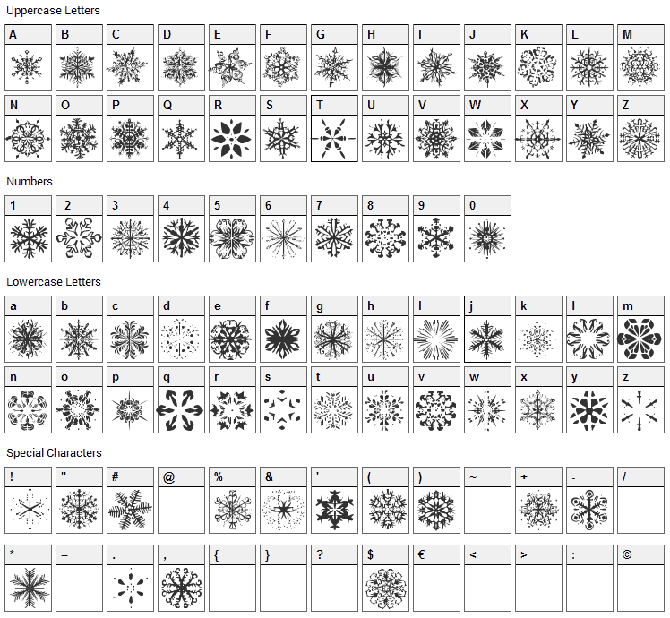 Snowflakes Font Character Map