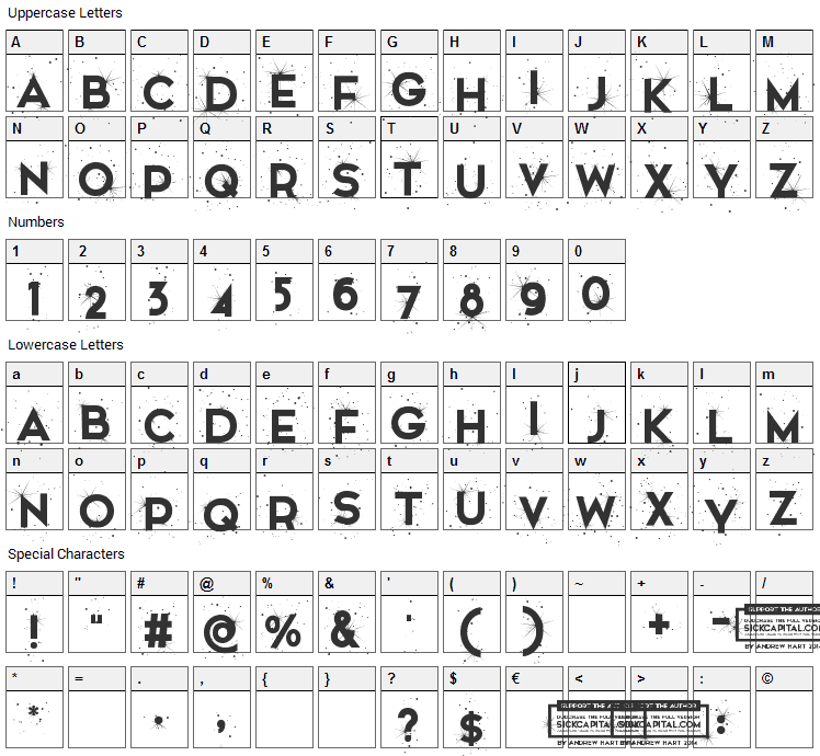 Snowinter Font Character Map