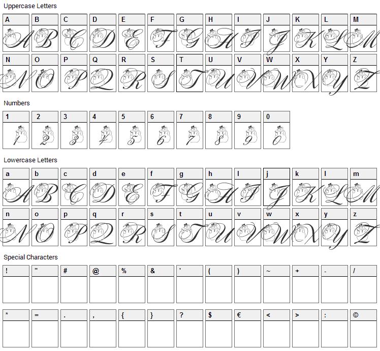 Snowman Citadel Font Character Map