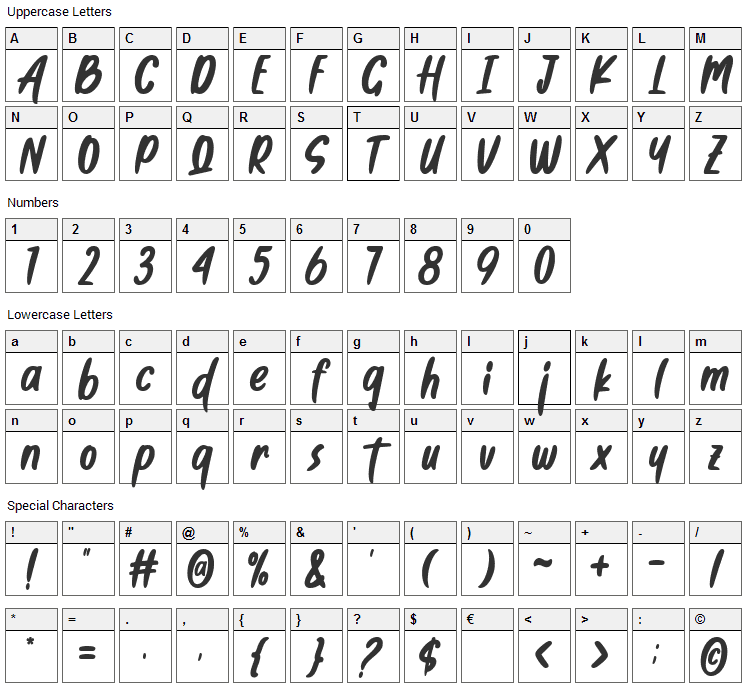 So Frosty Font Character Map