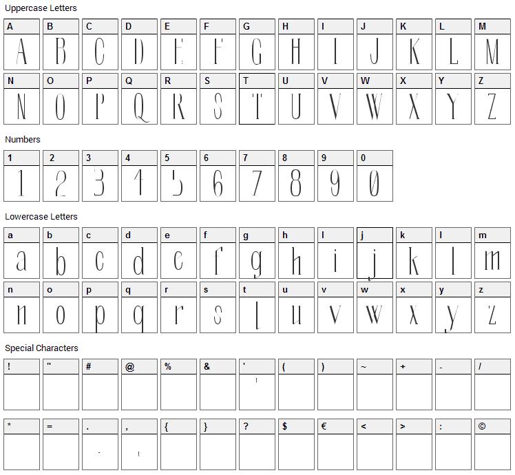 Soberba Serif Font Character Map
