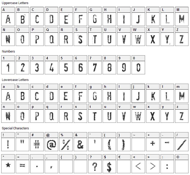 SociaL AnimaL Font Character Map