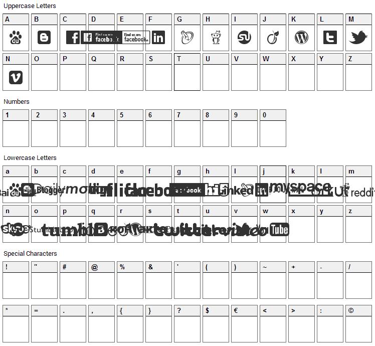 Social Logos Font Character Map