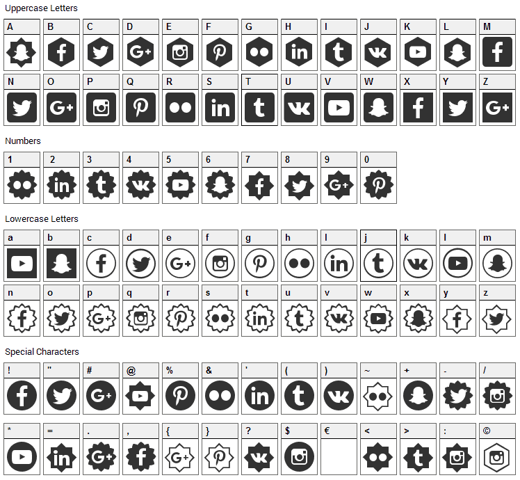 Social Shapes Font Character Map