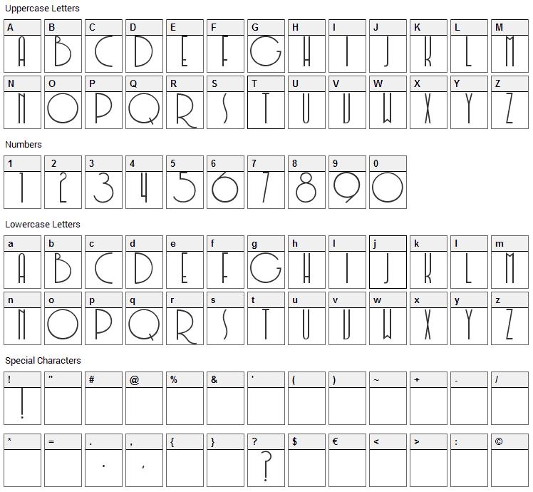 Soerjaputera Font Character Map