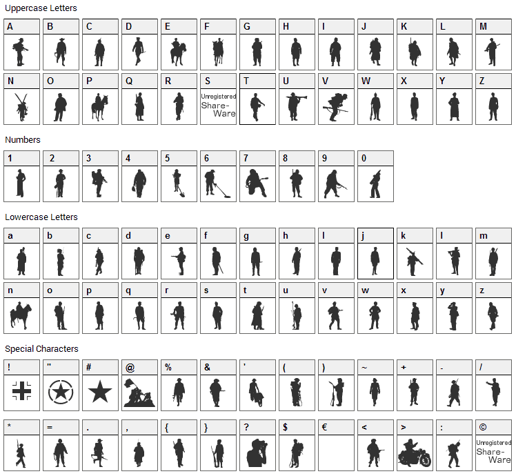 Soldier WW2 Font Character Map