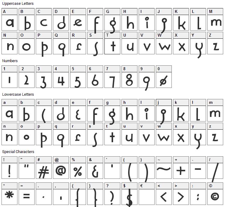Solea Font Character Map