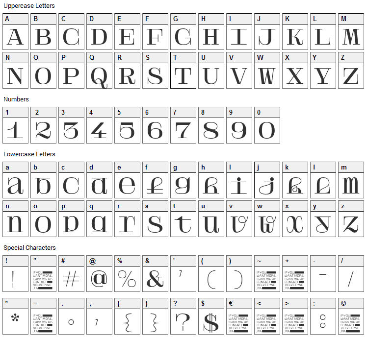Solide Mirage Font Character Map