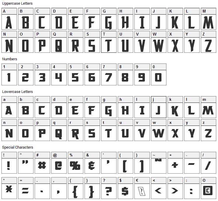 Solitarium Font Character Map