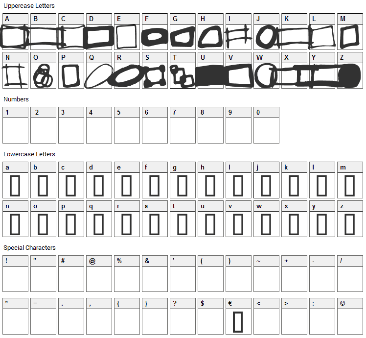 Some Boxes Font Character Map