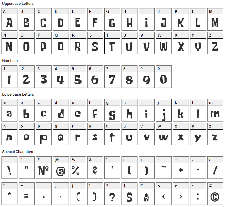 Some Time Later Font Character Map