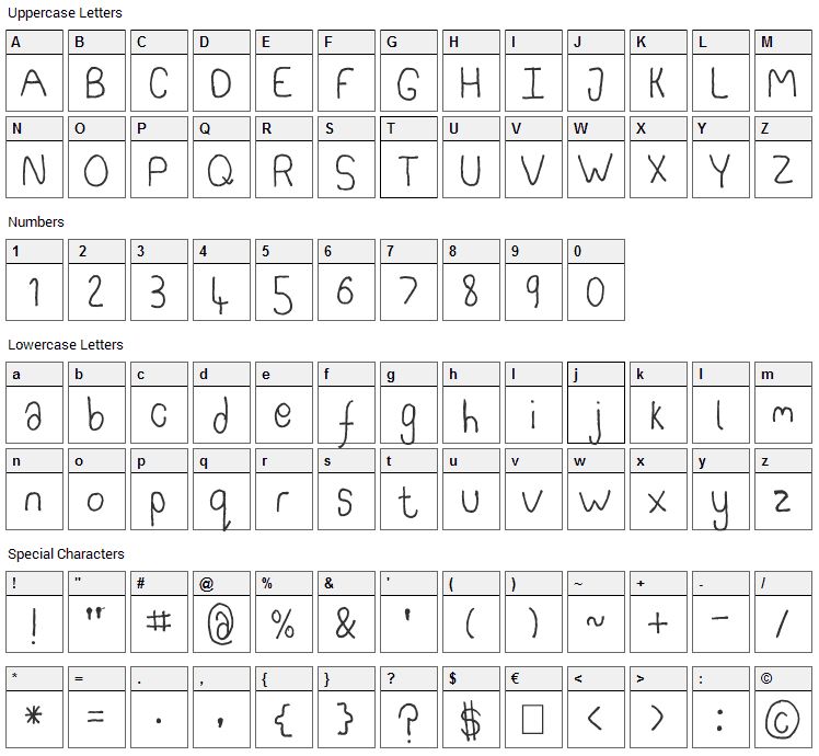 Somebercum Sans Serif Font Character Map