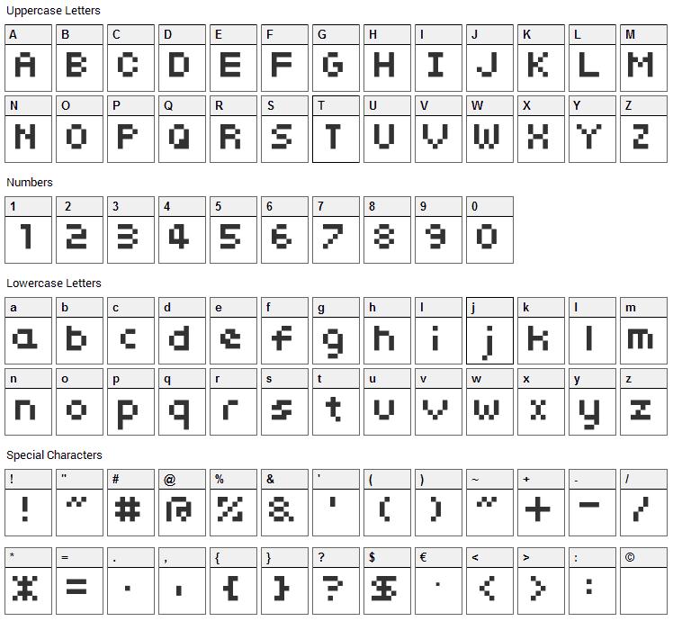 somybmp01_7 Font Character Map