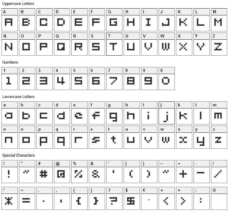 somybmp02_7 Font Character Map