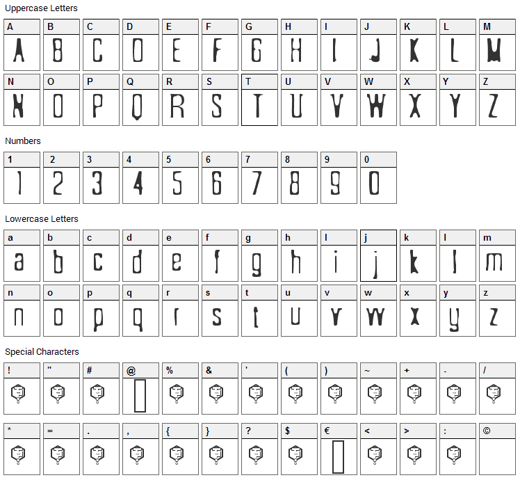 Sonderfistad Font Character Map