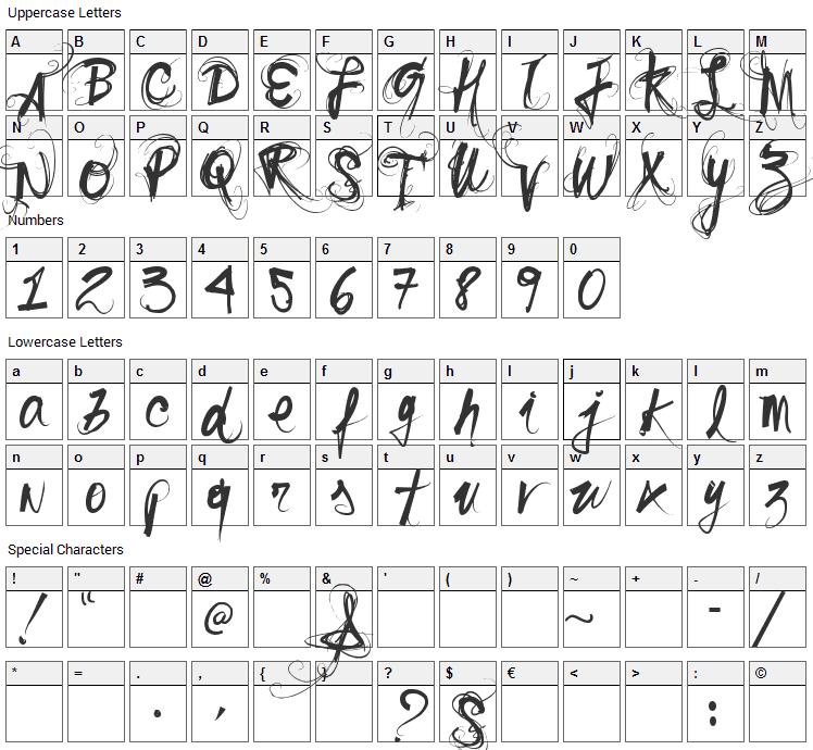 Sonho Font Character Map