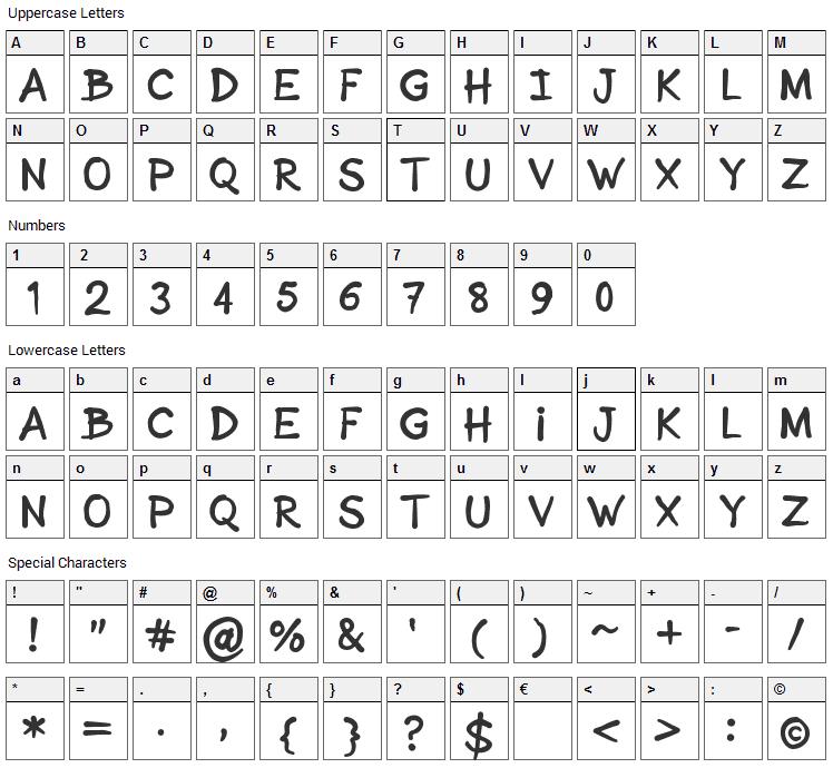 Sonic Comics Font Character Map
