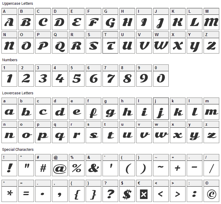 Sonsie One Font Character Map