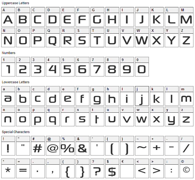 Sony Sketch EF Font Character Map