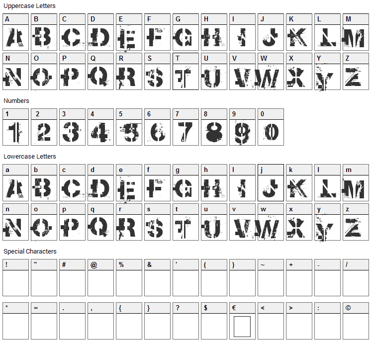 Soot Break Font Character Map