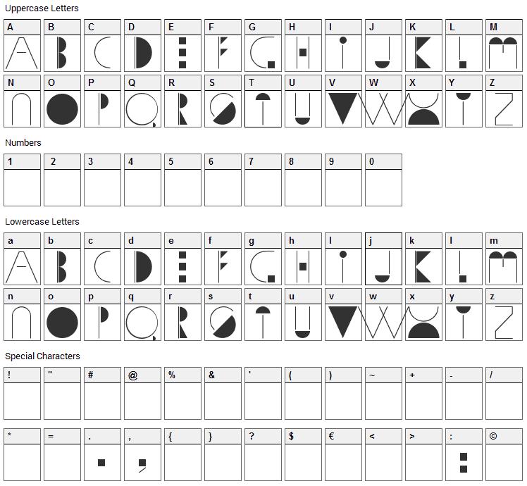 Sophia Font Character Map