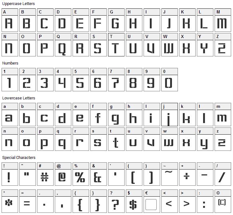 Sorenson Font Character Map