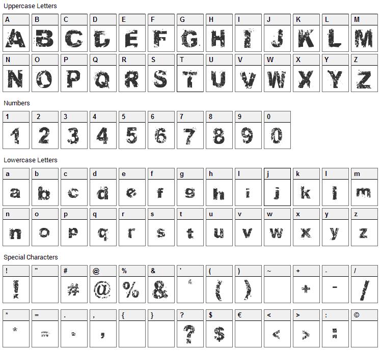 Soul Mission Font Character Map